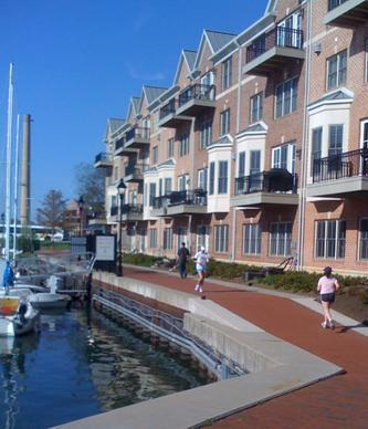 Picture of Joggers on Waterfront Promenade in Canton