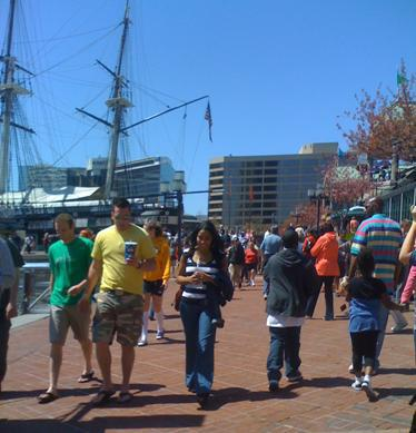Photo of people enjoying the Inner Harbor
