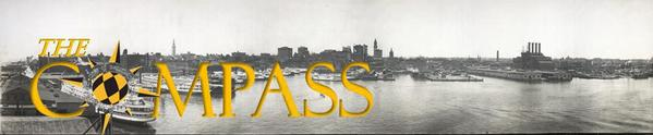 Compass Logo over historic photo of Baltimore Harbor