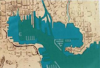 Historic map of Baltimore Harbor showing current and former shoreline location