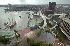 Aerial Photo of Flooding at Inner Harbor