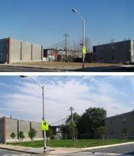 Two Images of Vacant Lot, Before and After Greening