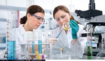 Stock photo of two scientists working in a lab