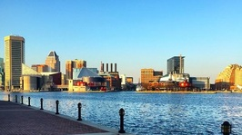 Photo of Baltimore skyline from the southwest waterfront  Promenade