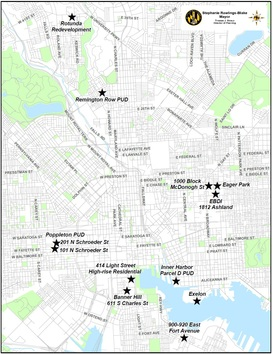 Map of Development Project Locations around Baltimore