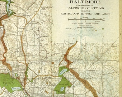 Clip of Old Map Showing part of the Olmsted Park System in Baltimore