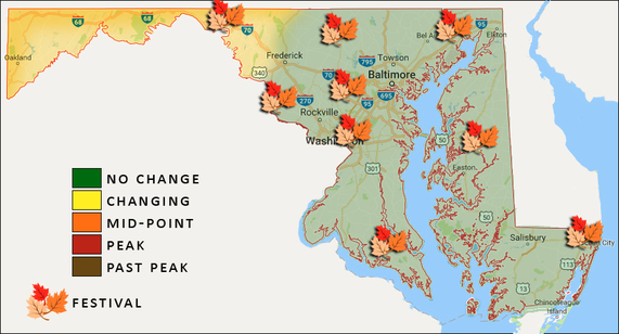 Map marking fall festivals