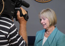 Nancy Floreen and cameraman.