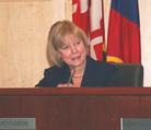 Nancy Floreen at Council dais.