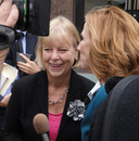 Reporter interviewing Nancy Floreen