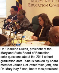 Dr. Charlene Dukes, president of the Maryland State Board of Education, asks questions about the 2014 cohort graduation data.  She is flanked by board