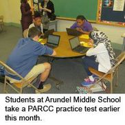 Students at Arundel Middle School take a PARCC practice test earlier this month.