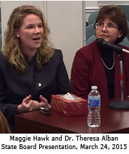 Maggie Hawk and Dr. Theresa Alban, State Board Presentation on March 24, 2015