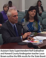Assistant State Superintendent Rolf Grafwallner and Howard County kindergarten teacher Laura Brown outline the KRA results for the State Board.