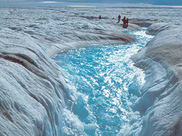 flowing meltwater from Greenland ice sheet