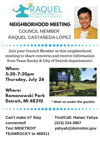 Flyer for Romanowski park meeting