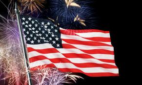 Fireworks display and flag