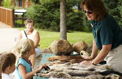 Children looking at animal pelts