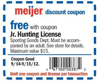 Free junior hunting licenses at meijer friday and saturday for Buy michigan fishing license