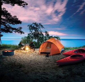 Beautiful waterfront campsites, like this one at Port Crescent State Park, are available now. Make your reservation today!