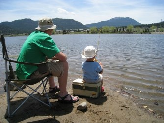 Father and son on the shore fishing