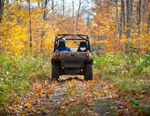 off-road vehicle heading down a Michigan trail