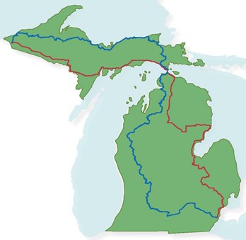 map of Michigan showing hiking and bicycling routes along Michigan's Iron Belle Trail