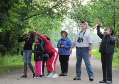 Birders look through binoculars at a Michigan state park