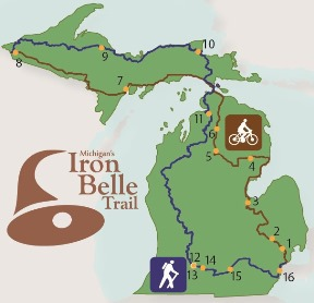 Map of projects being funded by Michigan's Iron Belle Trail grants