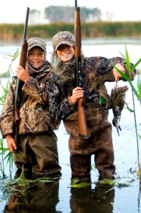 two young waterfowl hunters