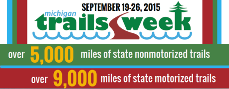 Michigan Trails Week logo and stats: over 5,000 miles of state nonmotorized trails, over 9,000 miles of state motorized trails