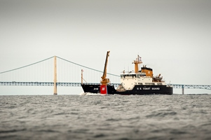 Coast Guard cutter near Mackinac Bridge