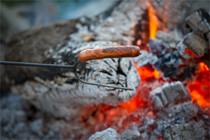 Roasting hot dogs at a campfire