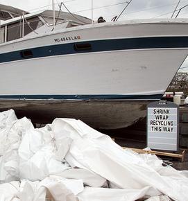 Shrink wrap recycling image via Michigan Sea Grant