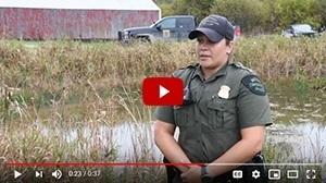 Thumbnail play button from Michigan DNR video on hunter orange and safety in the woods