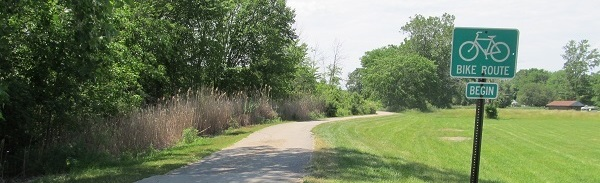 A photo of a bike route and signage