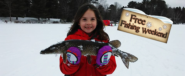 Young girl holding a northern pike while ice fishing, with Winter Free Fishing Weekend graphic in background