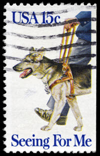 Seeing eye dog postage stamp