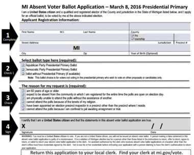absentee ballot Obtaining an absentee ballot an individual who expects to be absent from his/ her municipality on election day during the entire period the polls are open for.