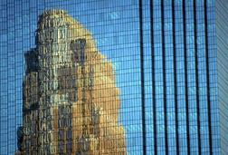 Reflection of Wells Fargo Building