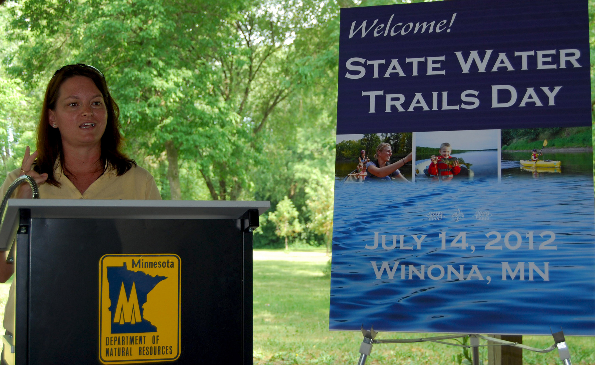 Erika Rivers welcoming the crowd at the 2012 State Water Trails Day in Winona