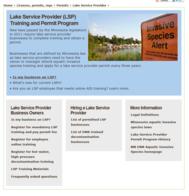 Lake Service Provider webpage