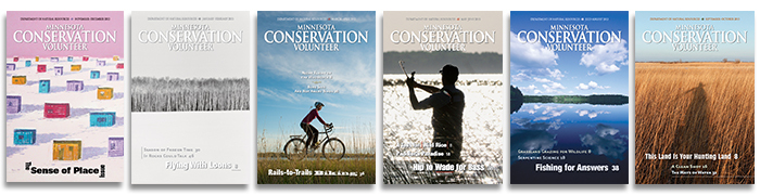 Image of six Minnesota Conservation Volunteer magazine covers