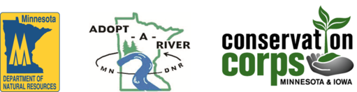 DNR, Adopt-a-River and Conservation Corps logos
