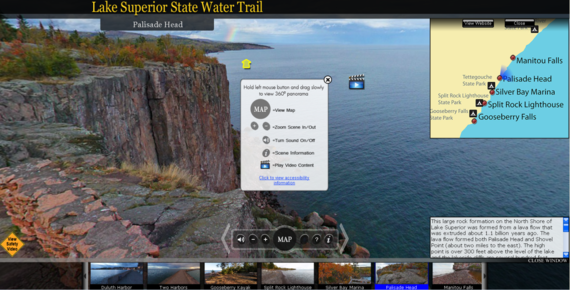 Screenshot of the Lake Superior State Water Trail virtual tour, where the point of view is from the top of a rock formation overlooking the lake.