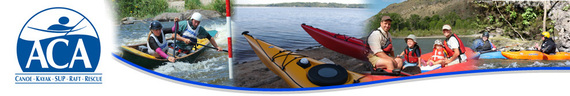 American Canoe Association banner with images of flat water, sea, and rapids kayaking