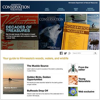 Screen shot of Minnesota Conservation Volunteer's new homepage