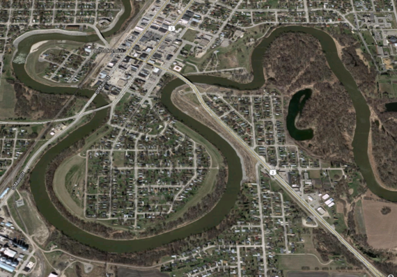 aerial view Crookston levee system