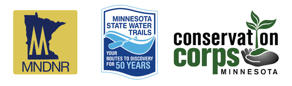 Logos: Minnesota Department of Natural Resources, Conservation Corps, and Minnesota State Water Trails