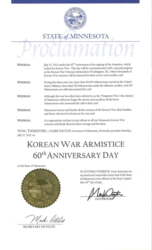 Korean War Armistice Proclamation